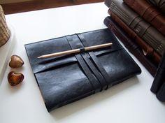 Handmade Notebook Journal A5 black Leather  by flamboyanhandmade, $35.00