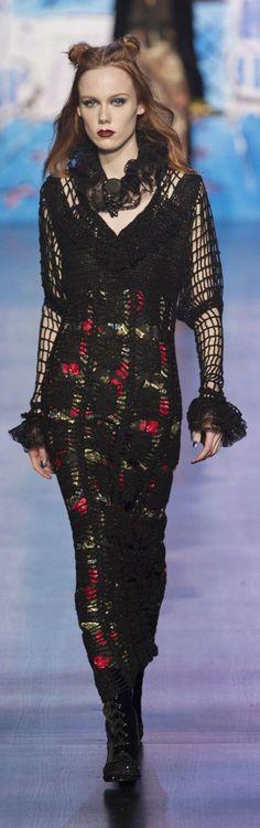 Anna Sui at New York Fashion Week Fall 2017 - Black Crochet Dress