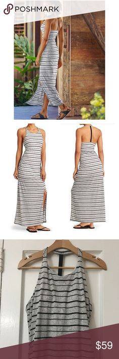 athleta • striped serenity maxi dress • large Excellent, like new condition.  The maxi dress built to move with a sporty, freeing T-back and built-in support for throw-on-and-go appeal. Lyocell/Silk/Spandex Luxurious-feeling silk-blend jersey flows with your every move Lightweight, stretchy, comfortable Machine wash and dry. Semi-fitted (more form-fitting around the waist) High-neck front for coverage BUILT-IN SUPPORT. Shelf-bra for throw-on-and-go appeal Removable cups for extra coverage…