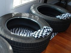 bean bag toss for cars/hot wheels party  Find free tires on Craigslist, and checkered bean bags