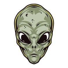 Colorful Alien Head vector illustration. Vintage style. Vintage Space, Lights Background, Dark Backgrounds, Apparel Design, All Design, Shirt Designs, Universe, Vintage Fashion, Colorful