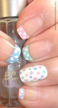 #Easter #Spring Pastel French Polka Dots Mani nails nailart