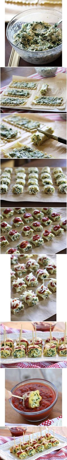 Mini spinach lasagna roll ups are the PERFECT appetizer for the next time you play host or hostess, and the kids will get their fill of spinach.