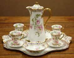 Hand painted Haviland Limoges chocolate set.  Is this not the most lovely set you've ever seen?