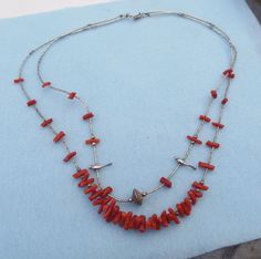 Native American Crafted Heishi Necklace With Coral