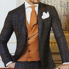Brown british style men suit #suit #brownsuit #britishstyle #britishsuit