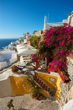 Mediterranean Living| Serafini Amelia|  Naxos, Greece - the flowers here could provide great color pop