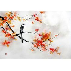 Japanese Ink Painting Asian art Suibokuga Sumi-e by Suibokuga