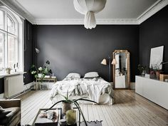 A Dramatic Swedish Space With Black Walls Dark Gray Pin On Interiores 35 Black Room Decorating Ideas How To Use Black Wall Paint Black Bedroom Interior Designs Home Bedroom, Bedroom Decor, Master Bedroom, Swedish Bedroom, Design Bedroom, Modern Bedroom, Bedroom Rustic, Teen Bedroom, Modern Vintage Bedrooms