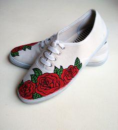 Hand painted Pumps/ Sneakers -  Red Roses - UK 7/ US 9.5/ EU 40- Kezbirdie. £55.00, via Etsy.