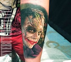 Pretty realistic tattoo style of Joker shot Batman movie directed by the artist Steve Butcher Joker Face Tattoo, Batman Joker Tattoo, Joker Face Paint, Joker Art, Joker Tattoos, Joker Joker, Joker Sketch, Joker Drawings, Harley Quinn Tattoo
