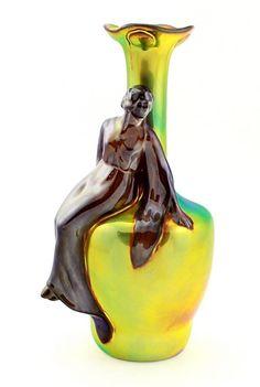 Zsolnay Iridescent Eosin Art Nouveau Figural Vase - Lady in Vase