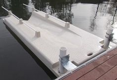 Kayak Rack Kayak Dock Launch - Features: Deigned for Kayak and Canoes under in width Outer shell made with non-corrosive low density polyethylene Unsinkable, foam-filled Kayak Launch Works great in shallow water Light color kind to bare feet and hands Kayak Camping, Kayak Fishing, Camping Hacks, Fishing Hats, Ice Fishing, Saltwater Fishing, Lake Kayak, River Kayak, Bikini Fishing
