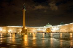 The palace square at night, Saint Petersburg, Russia