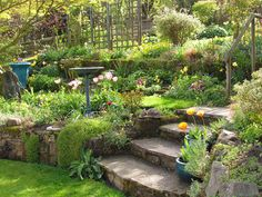 23 Lovely DIY Garden Pathway Steps On A Slope - Onechitecture, # Hillside Garden, Backyard Garden Landscape, Garden Shrubs, Terrace Garden, Large Backyard, Terrace Ideas, Garden Bridge, Sloped Backyard Landscaping, Terraced Landscaping