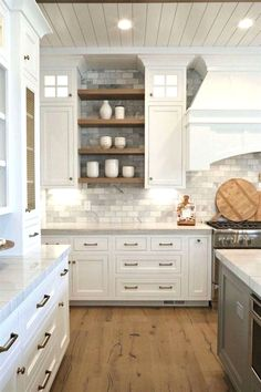 Kitchen decor and kitchen inspiration for all of the dream kitchen needs. Modern kitchen ideas at its finest decor and kitchen inspiration for all of the dream kitchen needs. Modern kitchen ideas at its finest. Farmhouse Kitchen Cabinets, Modern Farmhouse Kitchens, Kitchen Cabinet Design, Cool Kitchens, Rustic Farmhouse, Kitchen Storage, Rustic Kitchen, Kitchen Modern, Neutral Kitchen