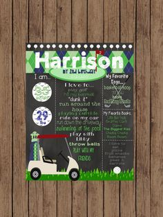 Printable Golf First Birthday Chalkboard Golf Chalkboard