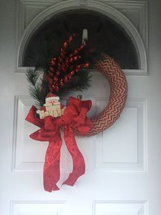 A personal favorite from my Etsy shop https://www.etsy.com/listing/535530224/holiday-wreath-christmas-wreath-chevron