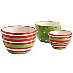 Jolly Holiday Prep Bowls - Set of 3  $20
