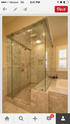 This is what we WANT for the master bath. We will order a two person, jet, superman shaped tub to go in the corner. And the shower will have three heads: one stationary, one not, and a rain head.