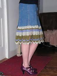 Resultado de imagem para crochet jean skirt