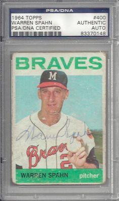 Warren Spahn 1964 Topps 400 Signed Autographed PSA DNA Auto 83370148 | eBay #warrenspahn #spahn #1964 #signedcard #autograph