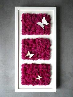 """Le Tableau végétal original """"Triple papillons"""" 25/52cm : Décorations murales par phyto-deco"""