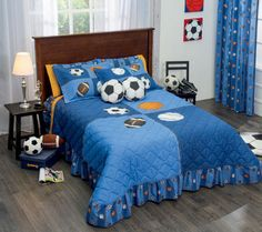 New-Boy-Girl-Blue-Sports-Soccer-Football-Basketball-Bedspread-Bedding-Set