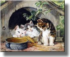 Three Kittens Cute Picture on Acrylic , Wall Art Décor, Ready to Hang!