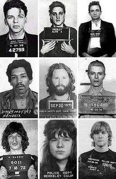 Mug Shots // #elvis #bowie #sinatra #cash #morrison #hendrix #jagger #joplin #cobain
