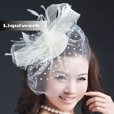 Ivory White Feather Wedding Bridal Veil Head Dress Hat Headpieces SKU-10806351