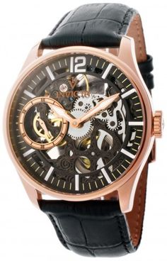 Invicta 12408 Vintage Black Leather Mechanical Skeleton Watch For Men