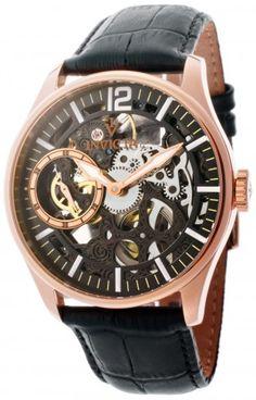 Invicta 12408 Vintage Black Leather Mechanical Skeleton Watch For Men