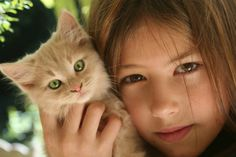 Little girl holding a cat by Shutterstock