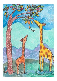 Giraffes in the African savannah, reaching fo msasa leaves. Giraffes love msasa trees and can reach to the top crunchy leaf tips for . Available in my Etsy shop. Watercolor Artwork, Watercolor And Ink, Kids Artwork, Ink Illustrations, Savannah Chat, Giraffe, Art For Kids, Kids Room, Moose Art