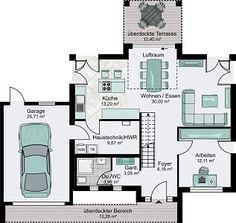 Einfamilienhaus grundriss mit doppelgarage  Hausdetailansicht | Haus random | Pinterest | Grundrisse, Hausbau ...