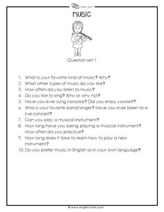 20 Questions about music: Work individually or in groups and speak about certain topics. The questions can be used for interviews, free talk or written assignments. Esl Lessons, English Lessons, Learn English, French Lessons, Spanish Lessons, Learn French, English Teaching Materials, Teaching English, Teaching Spanish