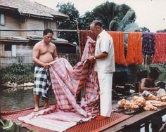 Jim Thompson at work, at the klong in Bangkok Bangkok, Jim Thompson House, James Harrison, Cameron Highlands, World Images, Asian History, Coin, Museum, Sewing