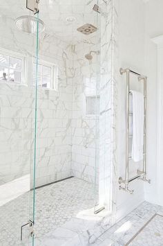 Do you like the heated towel bar marble bathroom, marble mosaic, hexagonal mosaics, subway tiles, polished nickel bathroom hardware Bathrooms Remodel, Marble Showers, Beautiful Bathrooms, Bathroom Inspiration, Shower Floor, Marble Bathroom Designs, Marble Bathroom, Bathroom Decor, Bathroom Hardware