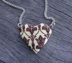 Small 221B Wallpaper Heart Necklace  Sherlock BBC by Geeekalicious, $13.00
