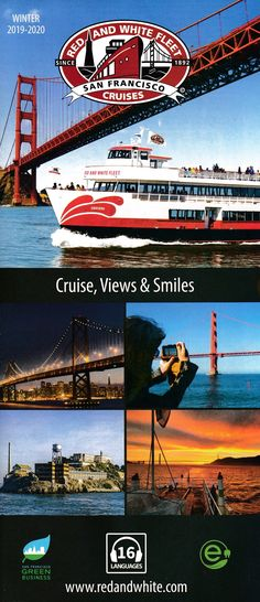 Founded in 1892, the family-owned Red and White Fleet is legendary for its breathtaking San Francisco Cruises. Sail under the Golden Gate and around Alcatraz. San Francisco Airport, Brochure Online, Local Activities, Brochures, Cruises, Golden Gate, Sailing, Red And White, Tours