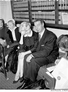 Marilyn Monroe Joe DiMaggio on their wedding day 1954