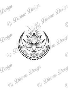 Lotus con tatuaje de sol y luna y plantilla Descarga digital | Etsy