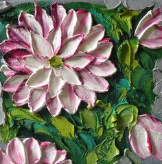 Impasto Palette Knife Floral Painting Magenta by IronsideImpastos