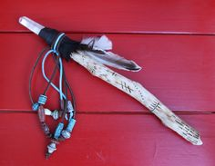 Native American Talking Stick  Footsteps OOAK by The7Directions