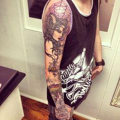 dark girl devil eye occult symbolism tattoo sleeve artwork