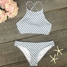 More summer please,it's a stripe season. ---CYY296 Details: - Stripe printing - Tank top - Tie at back - With padding bra - High leg cut - Fabric: Chinlon,Elastane Free Shipping ! SIZE (IN) USA BUST W