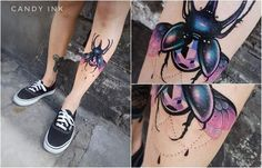 #neo #traditional #girly #beetle #tattoo