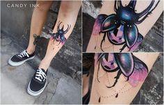 #neo #traditional #girly #beetle #tattoo