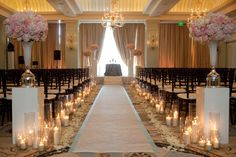 aisle runner, candles & rose petals. I might do this....church may not need much deco.
